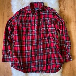 FADED GLORY MEN'S RED WHITE PLAID FLANNEL